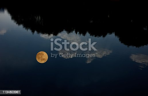 The full moon reflected on the lake surface with copy space.