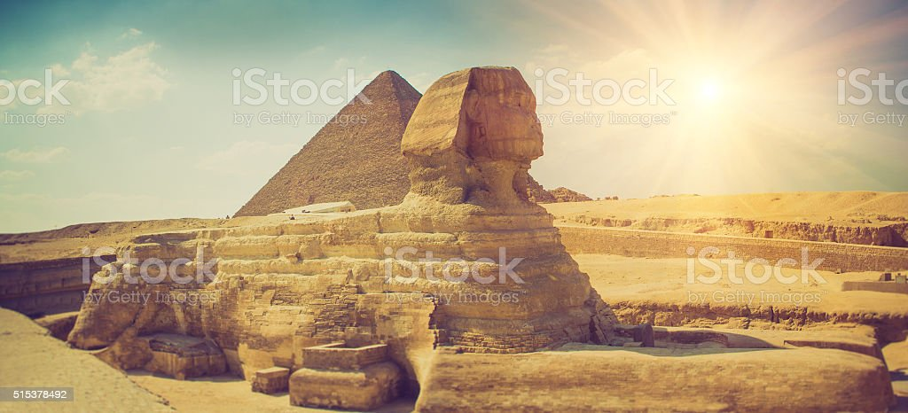 The full profile of the Great Sphinx.Giza. stock photo