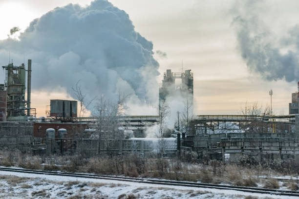 The Fumed Factory near Moscow in Winter, Russia stock photo