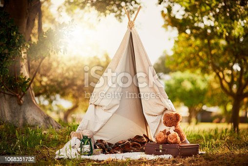 Shot of an empty children's teepee in a glade in the woods