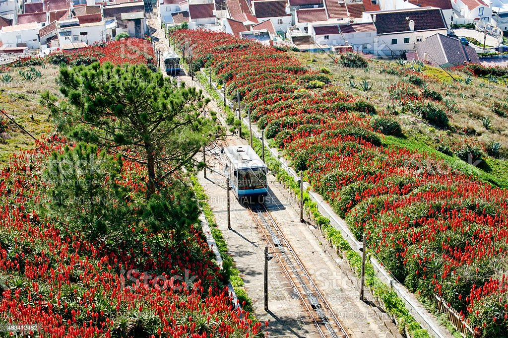 The funicular cabins in Nazare, Portugal stock photo
