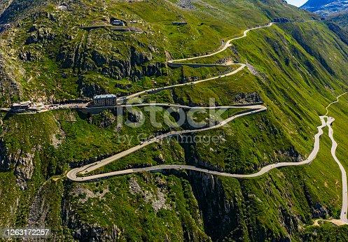 istock The Furka Pass in Switzerland Aerial view 1263172257