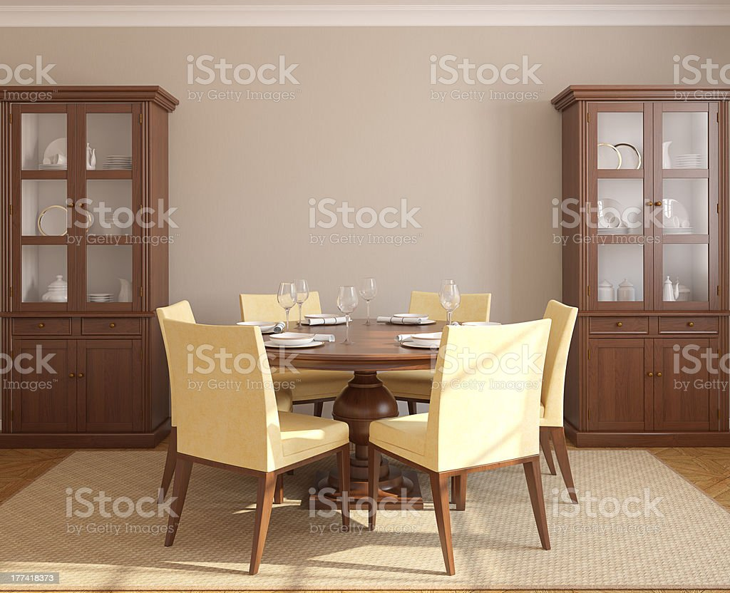 The furnishing of a classy styled dining room stock photo