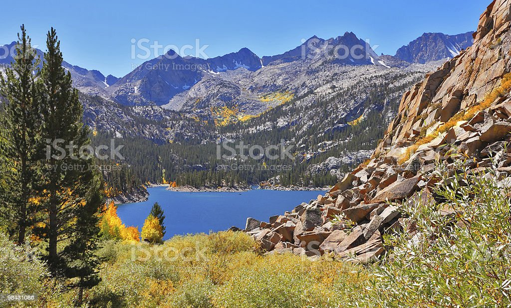 The fur-trees and mountain lake royalty-free stock photo