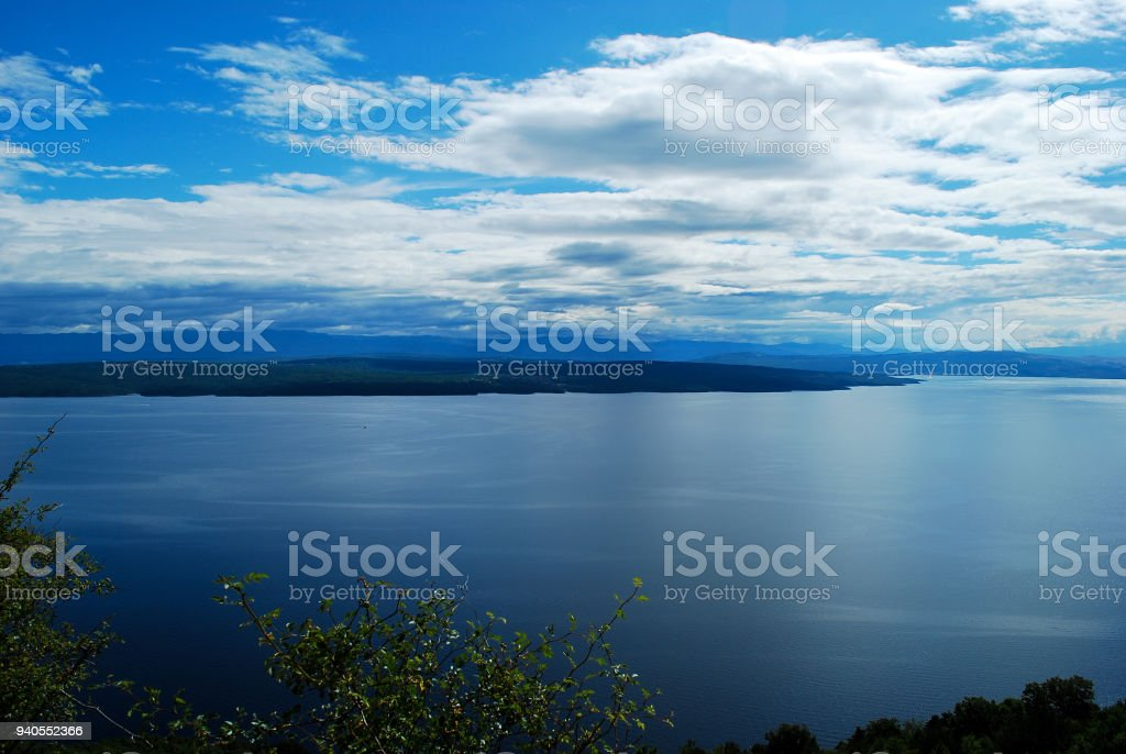 The fusion between sky and sea stock photo