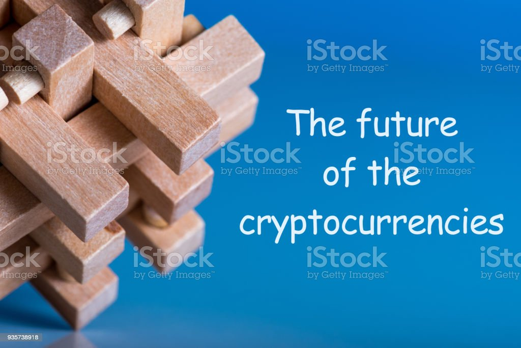 The Future of Cryptocurrencies. Trading concept with brainteaser stock photo