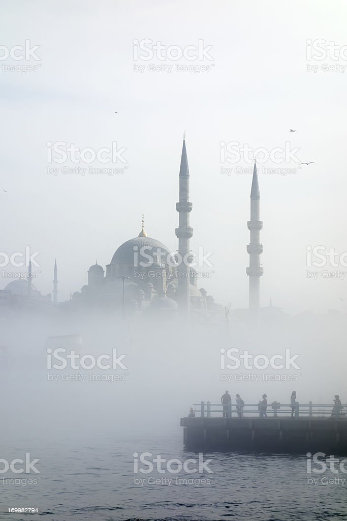 The Galata Bridge leads across Golden Horn, New Mosque royalty-free stock photo