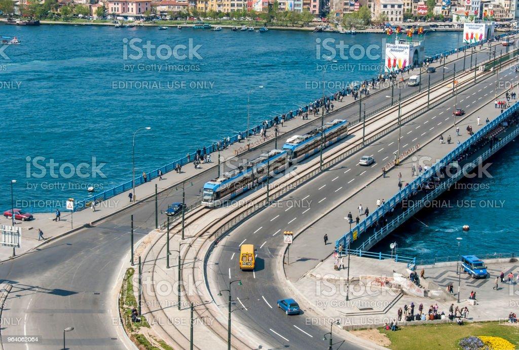 The Galata Bridge - Royalty-free Aerial View Stock Photo