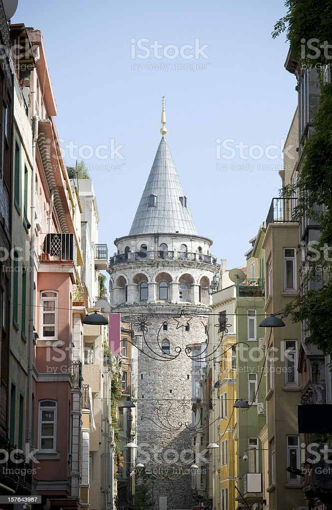 The Galata tower featuring a Romanesque architecture stock photo