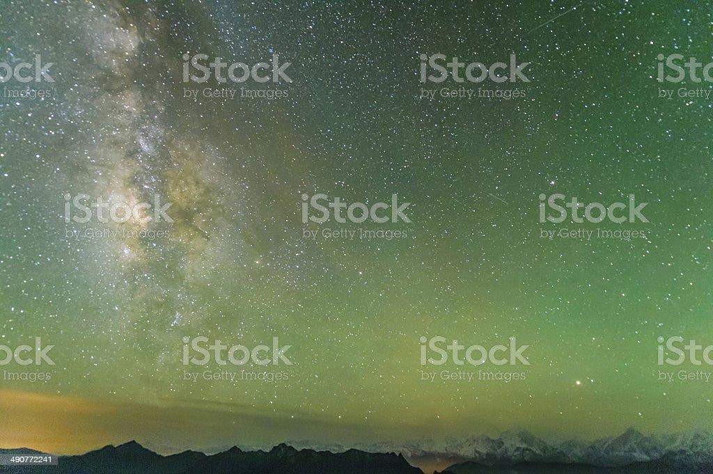 The Galaxy of Minya Konka snow mountain stock photo