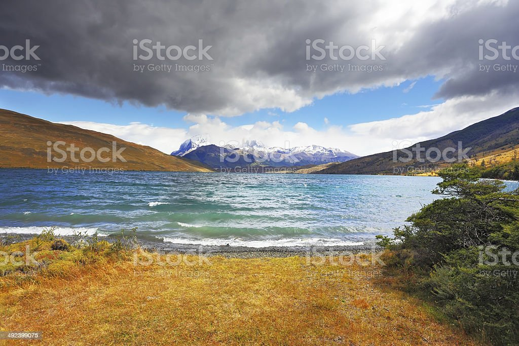 The gale on  Emerald Lake stock photo