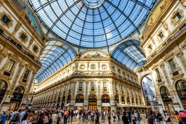 the galleria vittorio emanuele ii in milan, italy - cupola stock pictures, royalty-free photos & images