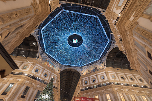 The Galleria Vittorio Emanuele with Christmas lights on the roof and tree