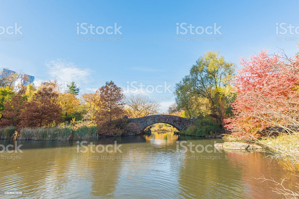 The Gapstow Bridge over The Pond in Central Park stock photo
