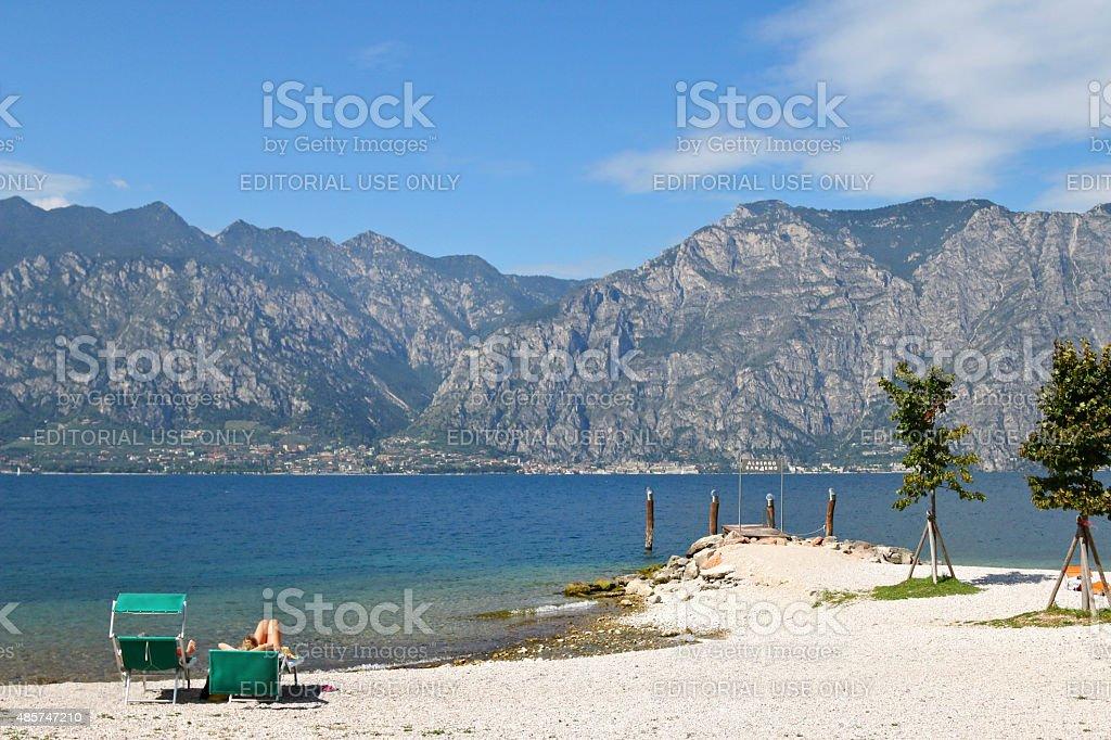 The Garda Lake  (Lago di Garda) in Italy stock photo