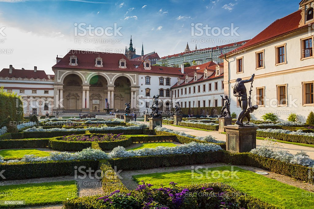 The garden of the Waldstein palace in Prague stock photo