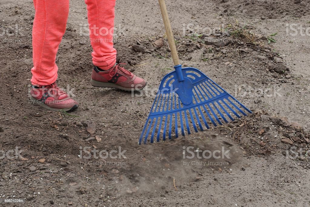 the janitor rakes the blue rakes with garbage on the ground