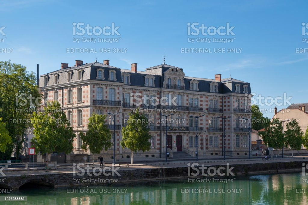 The Gardens Du Mess hotel in Verdun Verdun, France - June 24 2020: Les Jardins Du Mess is a 4 star hotel located in a 19th century building on the banks of the Meuse. 19th Century Stock Photo