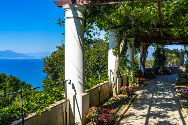 The gardens of Villa San Michele in Capri have a scenic panoramic view of Gulf of Naples and Sorrentine Peninsula, Italy stock photo