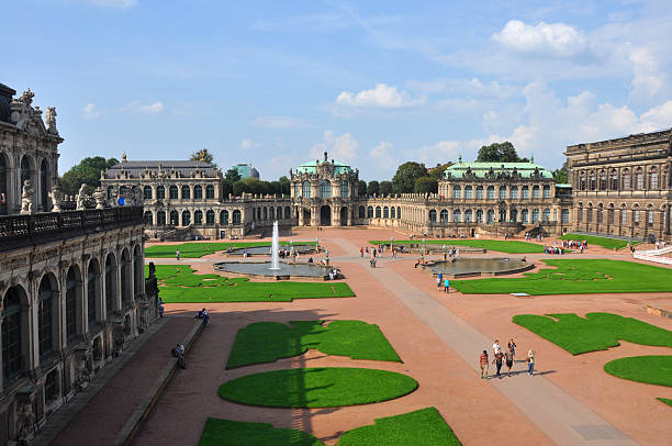 The gardens of Zwinger Dresden, Germany Dresden, Germany - September 16, 2014: The gardens of the Zwinger Dresden, Germany, in September 2014, with people walking around. zwanger stock pictures, royalty-free photos & images