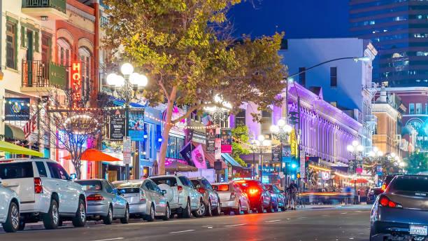 The Gaslamp Quarter in San Diego, California USA stock photo