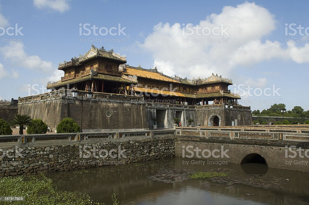 The Gate House of the Forbidden Purple City in Hue, Vietnam stock photo