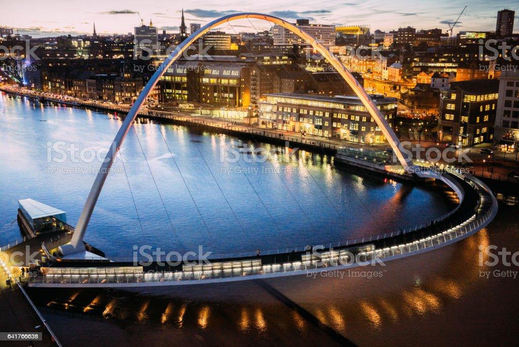 The Gateshead Millennium Bridge over the River Tyne in Newcastle, UK - high angle view stock photo