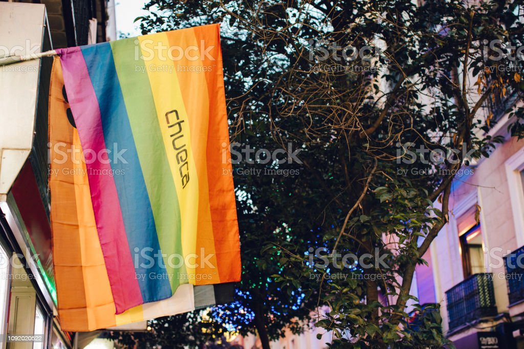 the gay district in Madrid known as Chueca stock photo