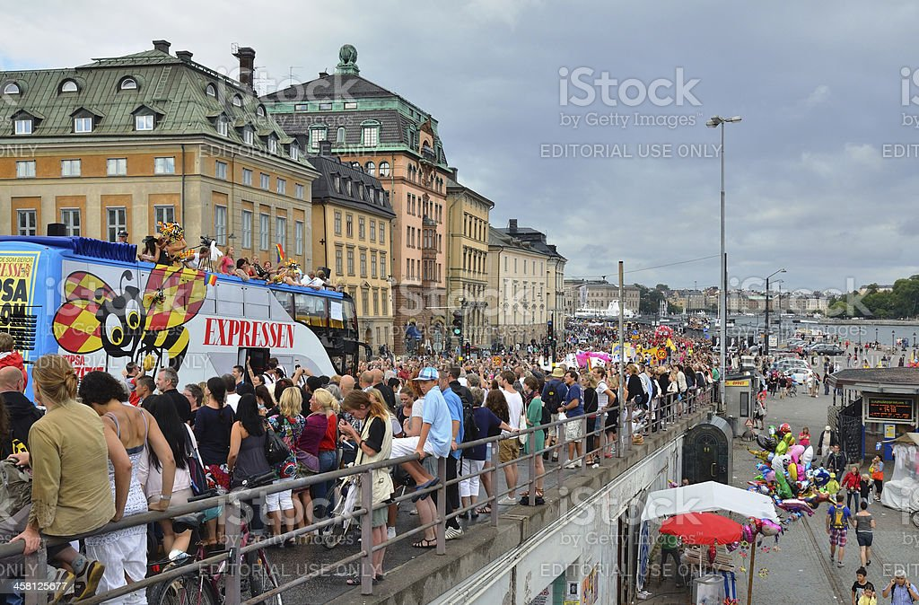 The gay pride parade in Stockholm, Sweden royalty-free stock photo