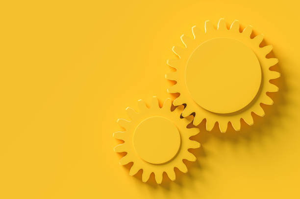 The gear middle area enter for your text The gear middle area enter for your text yellow background, minimal concept 3d render. sprocket stock pictures, royalty-free photos & images
