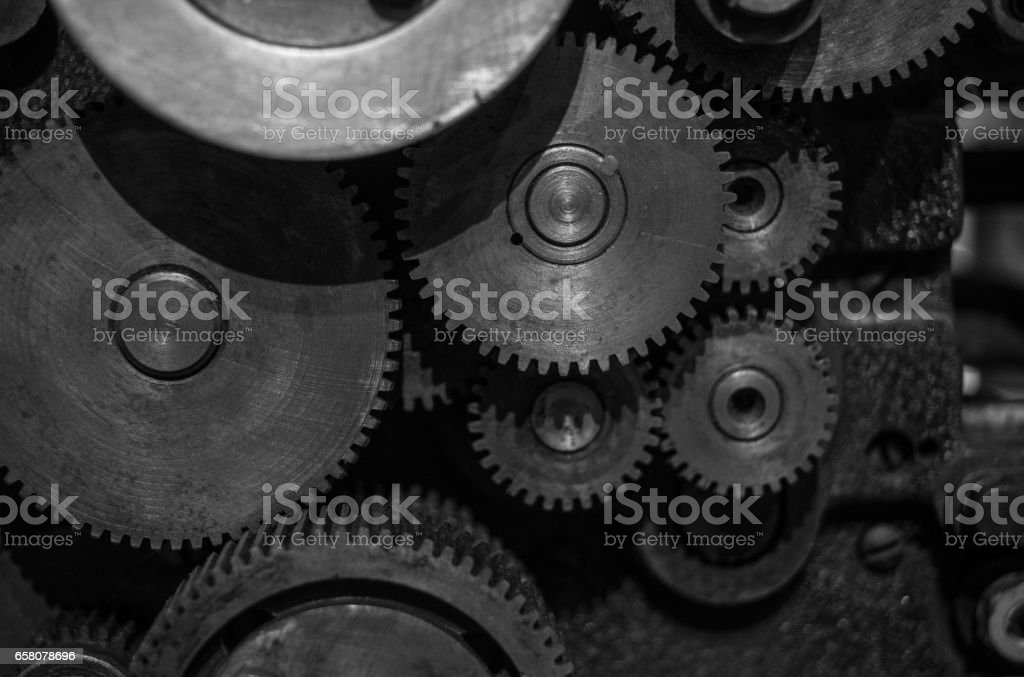 The gears of a old and vintage machine royalty-free stock photo