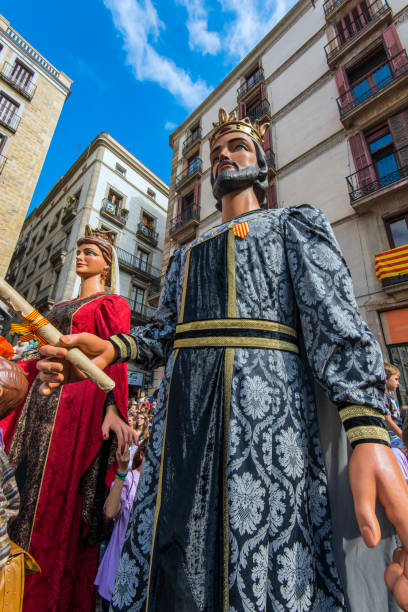 The Gegants or Giants parade in Plaza San Jaume during La Merce festival, Barcelona, Catalonia, Spain stock photo