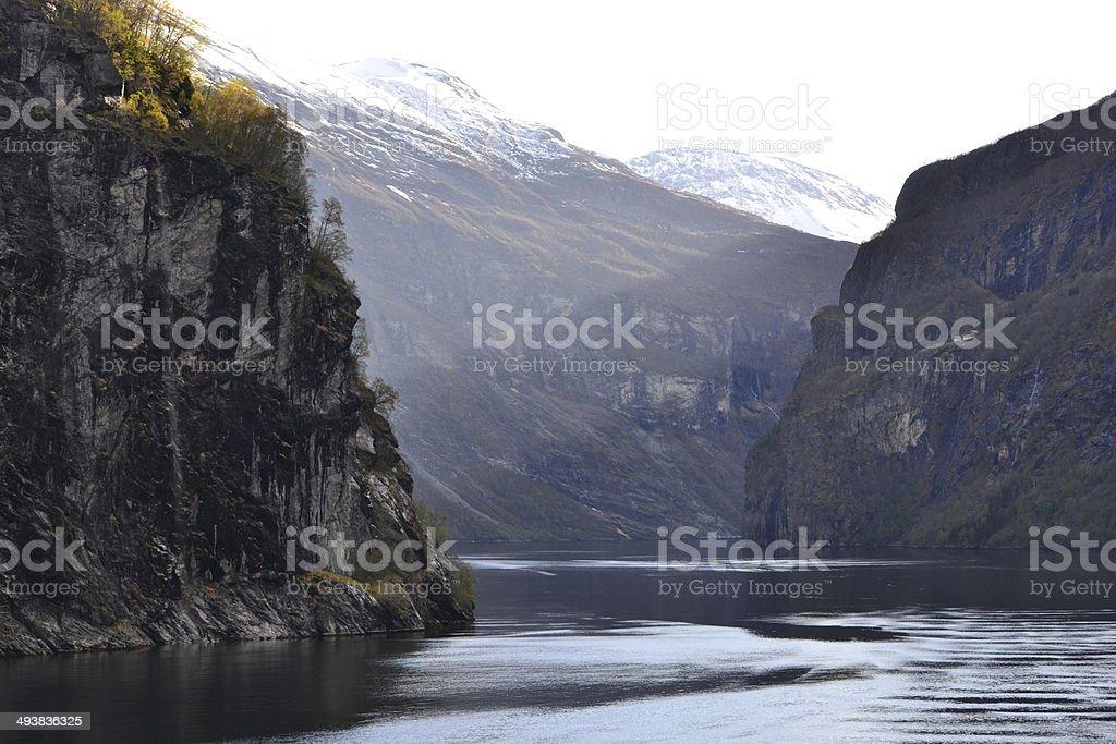 The geiranger fjord stock photo