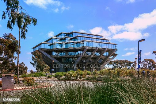 La Jolla, California, USA - April 3, 2017: The Geisel Library on Gilman Drive in the campus of the University of California, San Diego (UCSD).