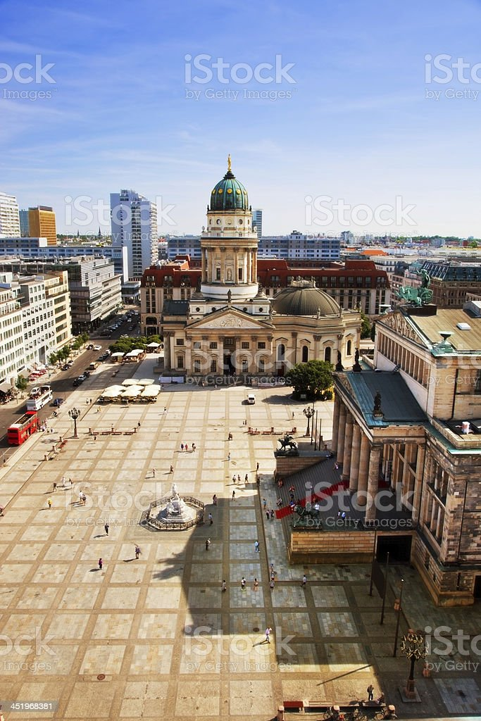 The Gendarmenmarkt and German Cathedral in Berlin royalty-free stock photo