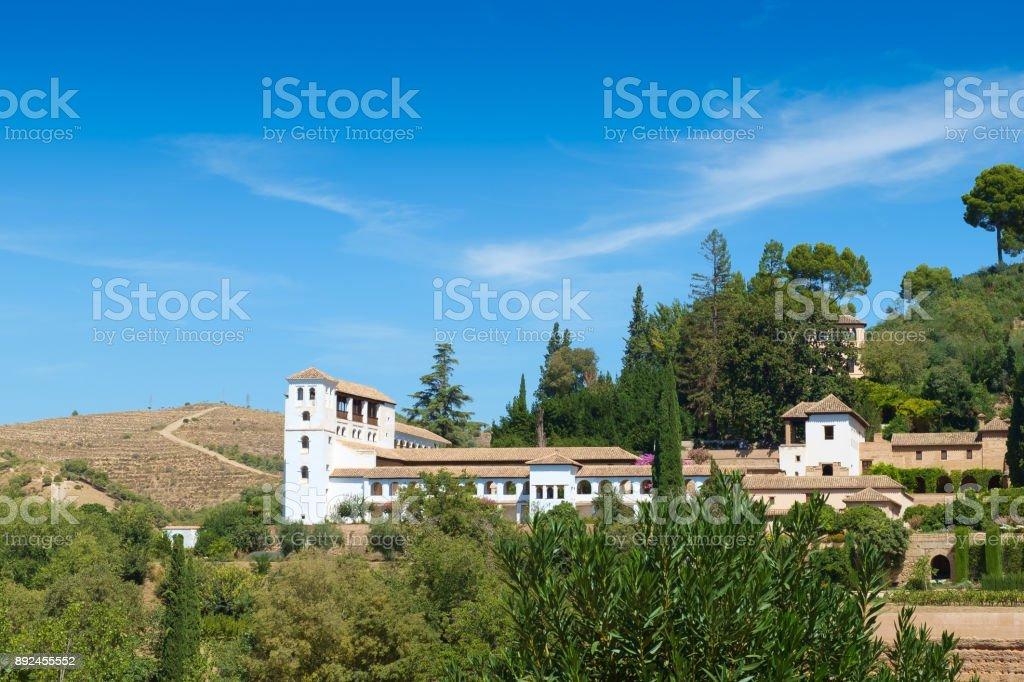 The Generalife Palace and Gardens, Granada, Spain stock photo