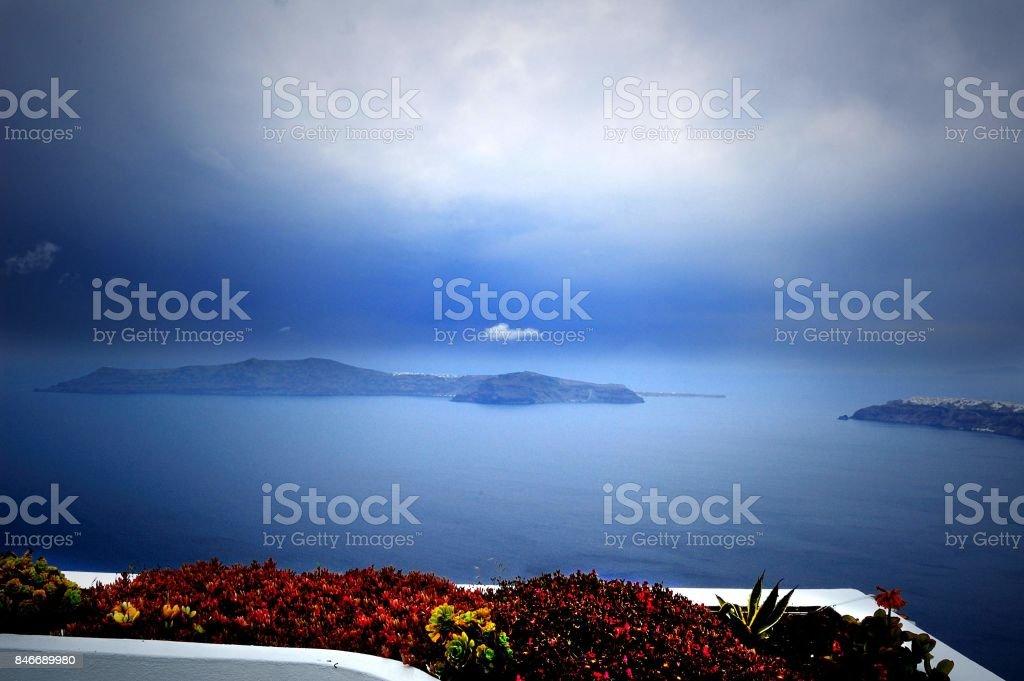 The gentle mist on the island of Santorini stock photo