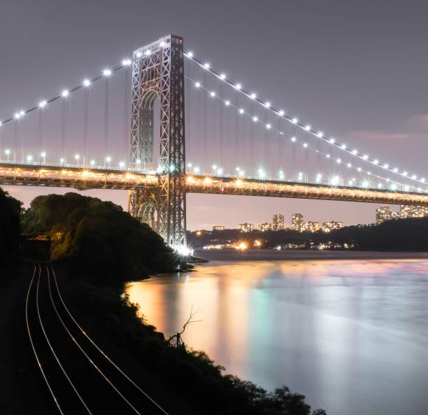 The George Washington Bridge at Night stock photo