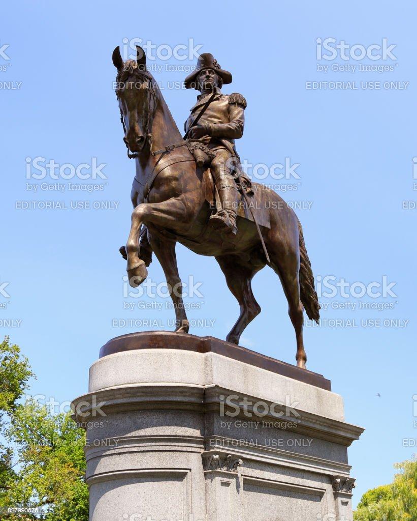 The George Washington Statue in Boston Public Garden stock photo