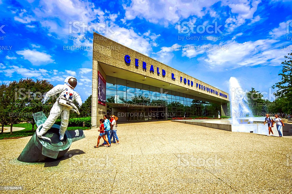 The Gerald R Ford Presidential Museum in Grand Rapids MI stock photo