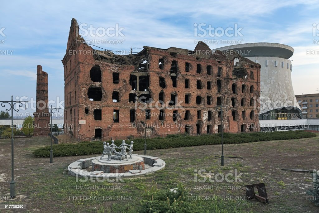The Gerhardt's mill, a steam mill ruined in WWII in Volgograd, Russia stock photo