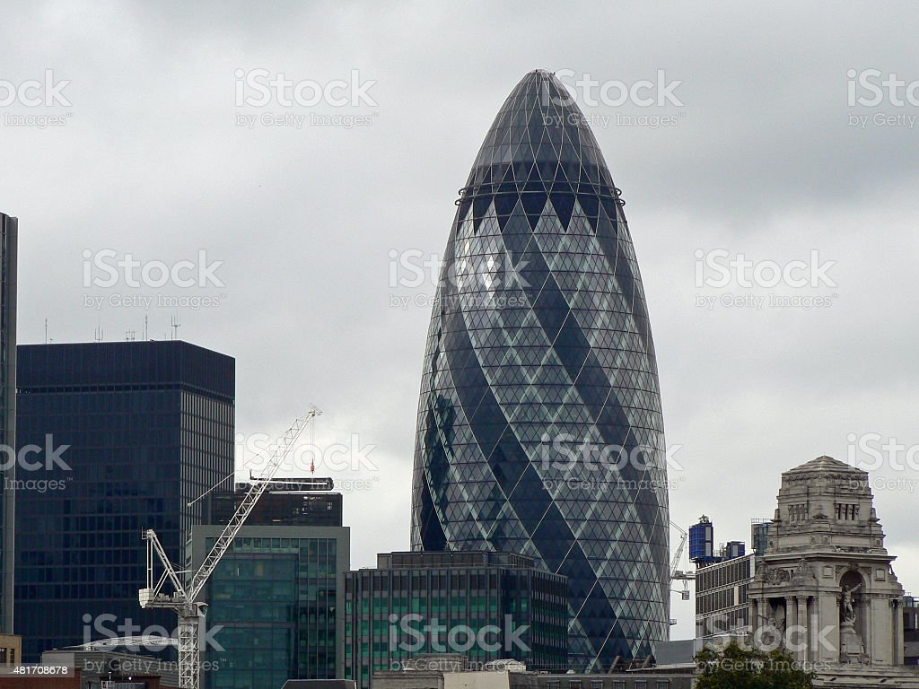 The Gherkin and City of London, London, UK stock photo