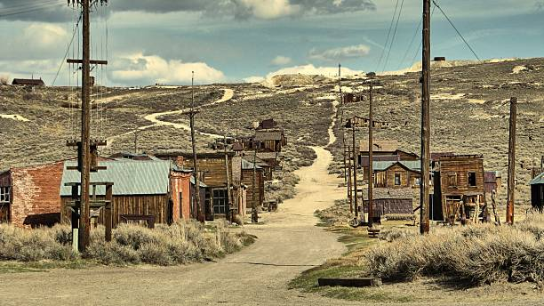 the ghost town of bodie - california - western town stock photos and pictures