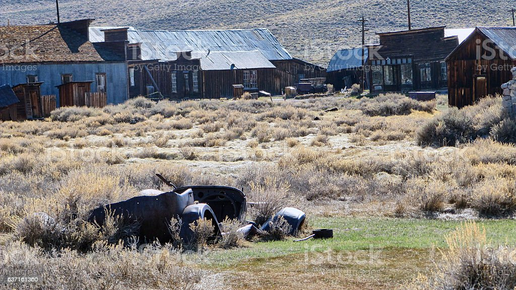 The Ghost Town of Bodie - Car wreck stock photo