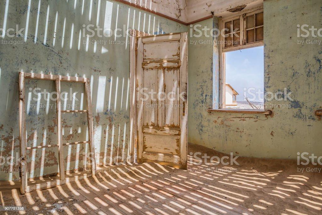 The ghost town of Kolmanskop in Namibia stock photo