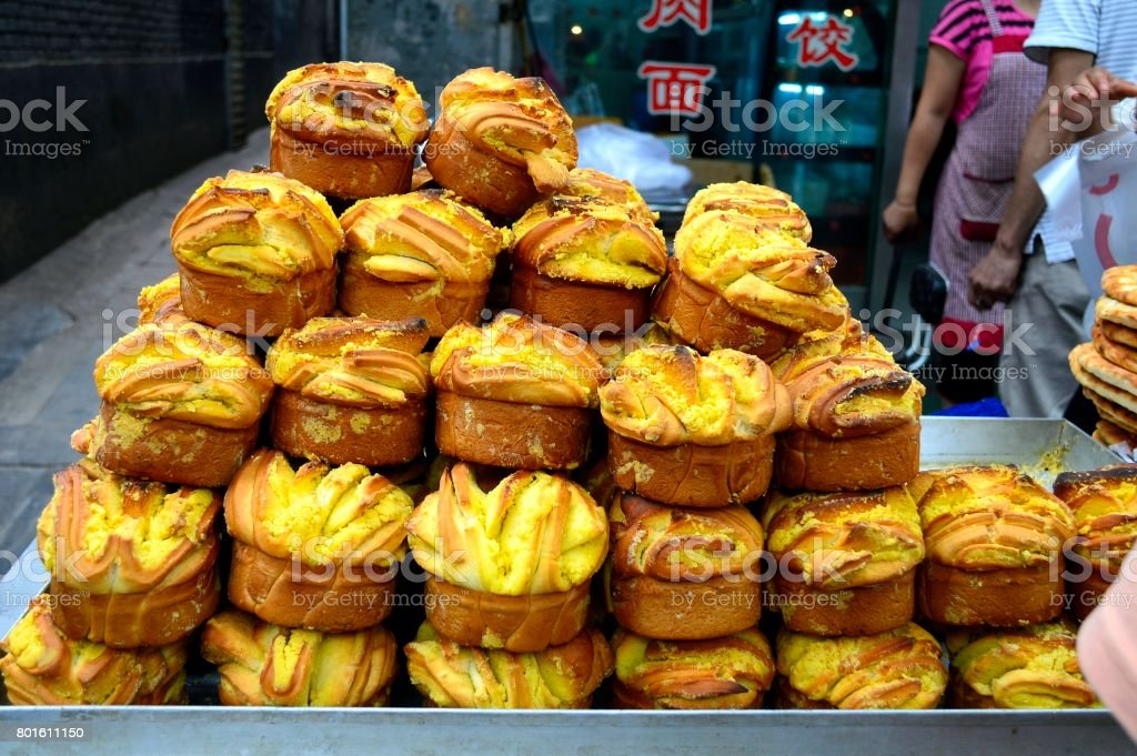 The Giant Muffin-Shaped Bread from Xi'an, China stock photo