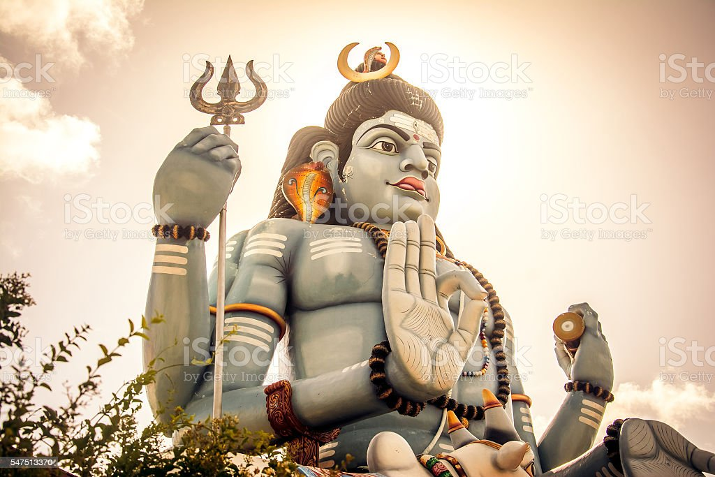 The giant statue of god Shiva Koneshwaram, Trincomalee Sri Lanka stock photo