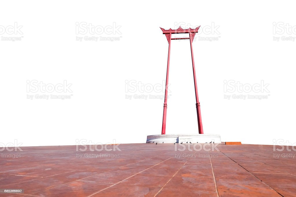 The Giant swing landmark in Bangkok,Thailand on white background with clipping path foto de stock royalty-free