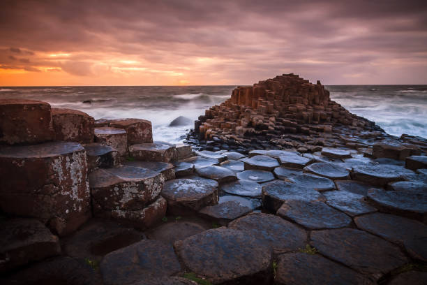 the giant's causeway in northern ireland during sunset - rocky coastline stock pictures, royalty-free photos & images