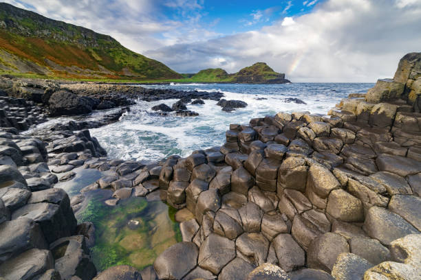 The Giant's Causeway  in the morning. stock photo